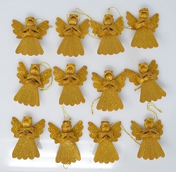 Abaca Argel Angel Ornament Gold w/Gold Dust 2