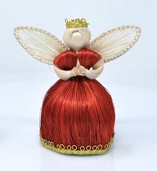 Abaca Angel Bonbon Ornament Red Dress Gold Trim 4