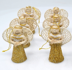 Abaca Angel Ornament Liway w/Lace & Gold Dust 2