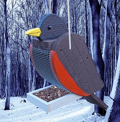 Amish Hand-Made Shaped Bird Feeder Robin