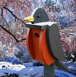 Amish Hand-Made Shaped Bird House Robin