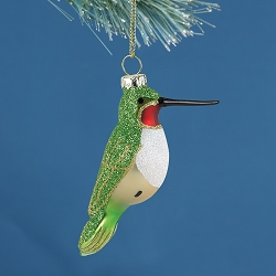 Cobane Studio Ruby-Throated Hummingbird Blown Glass Ornament