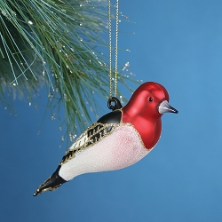 Cobane Studio Red-Headed Woodpecker Blown Glass Ornament
