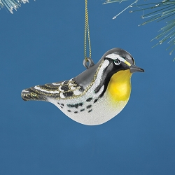 Cobane Studio Yellow-Throated Warbler Blown Glass Ornament