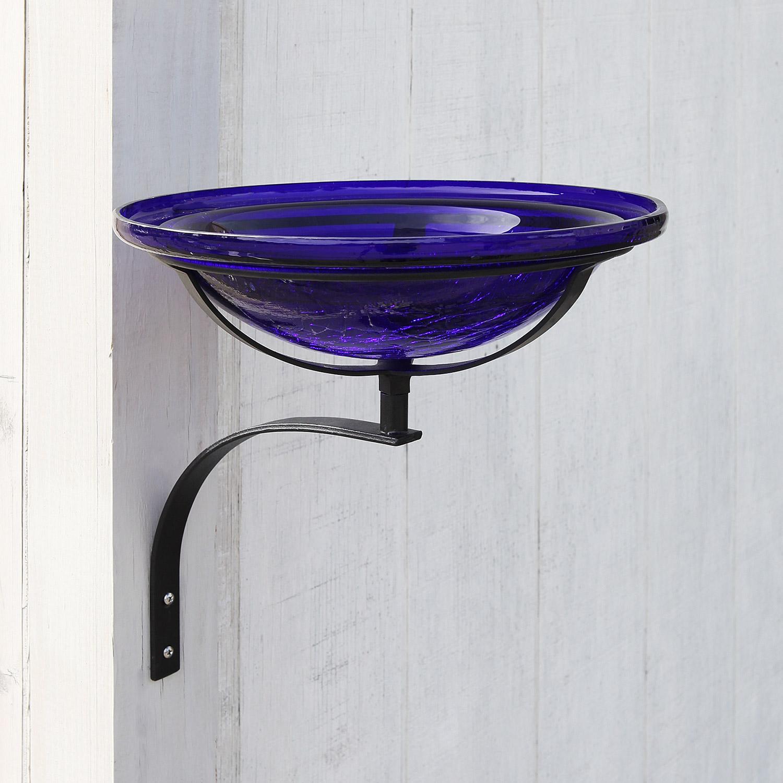Achla Designs CGB-01CB-WM 12 Inch Cobalt Blue Crackle Wall Mount Bracket Birdbath