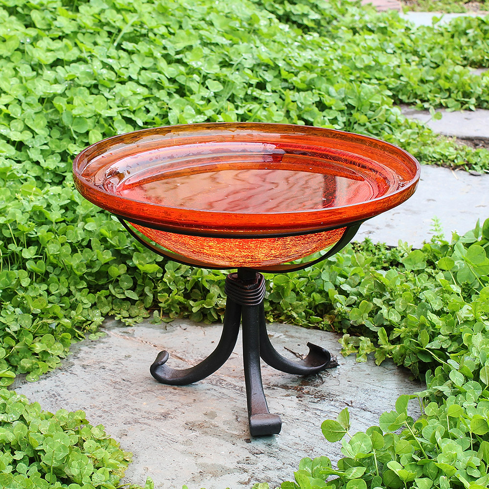 Crackle Glass Bird Bath 12 Mandarin With Tripod Stand