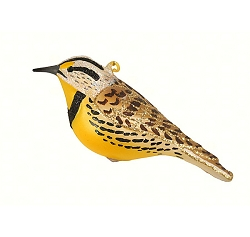 Cobane Studio White Crowned Sparrow Blown Glass Ornament