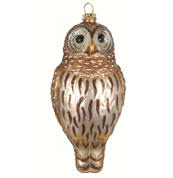 Cobane Studio Barred Owl Blown Glass Ornament