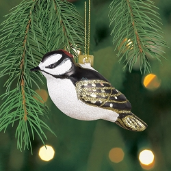 Cobane Studio Downy Woodpecker Blown Glass Ornament