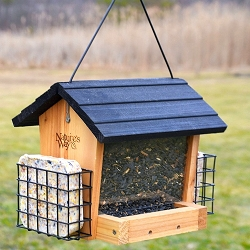 Cedar Series 3 Qt Hopper Feeder w/Suet Cages