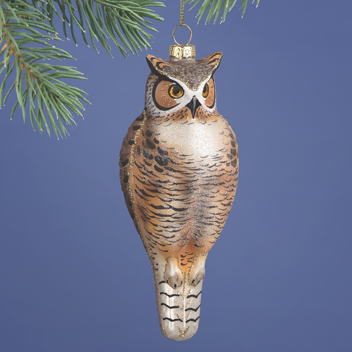 Midwest CBK Red Gold Horned Owl ornament Hand Blown Glass