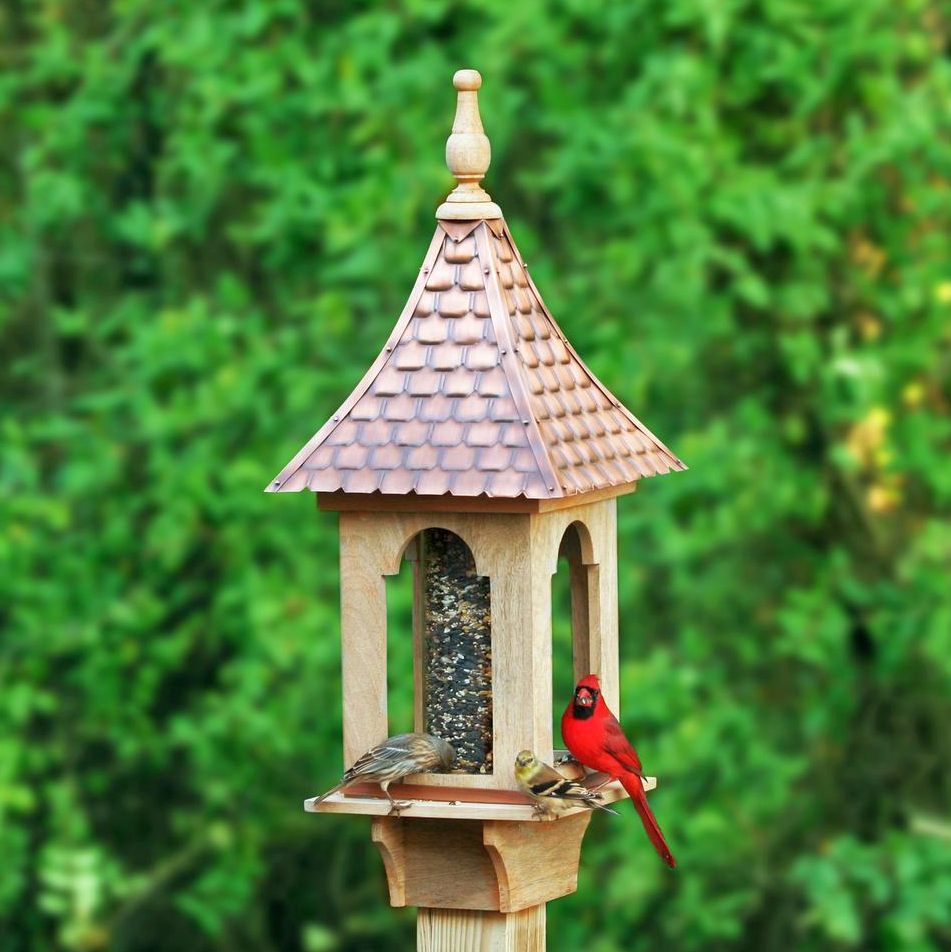 Villa Copper Shingled Roof Bird Feeder