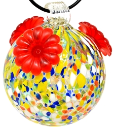 Glass Globe Hummingbird Feeder Multicolored