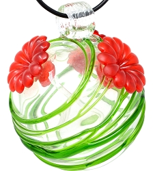Glass Globe Hummingbird Feeder Green Swirls