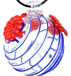Glass Globe Hummingbird Feeder Blue Swirls