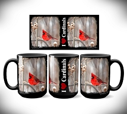 I Love Cardinals Coffee Mug 15 oz. Set of 2