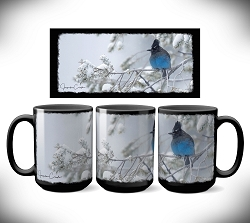 Stellar's Jay Snow Day Coffee Mug 15 oz. Set of 2