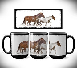 Telluride Horses Coffee Mug 15 oz. Set of 2
