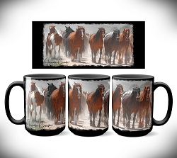 Smoke Horses Coffee Mug 15 oz. Set of 2