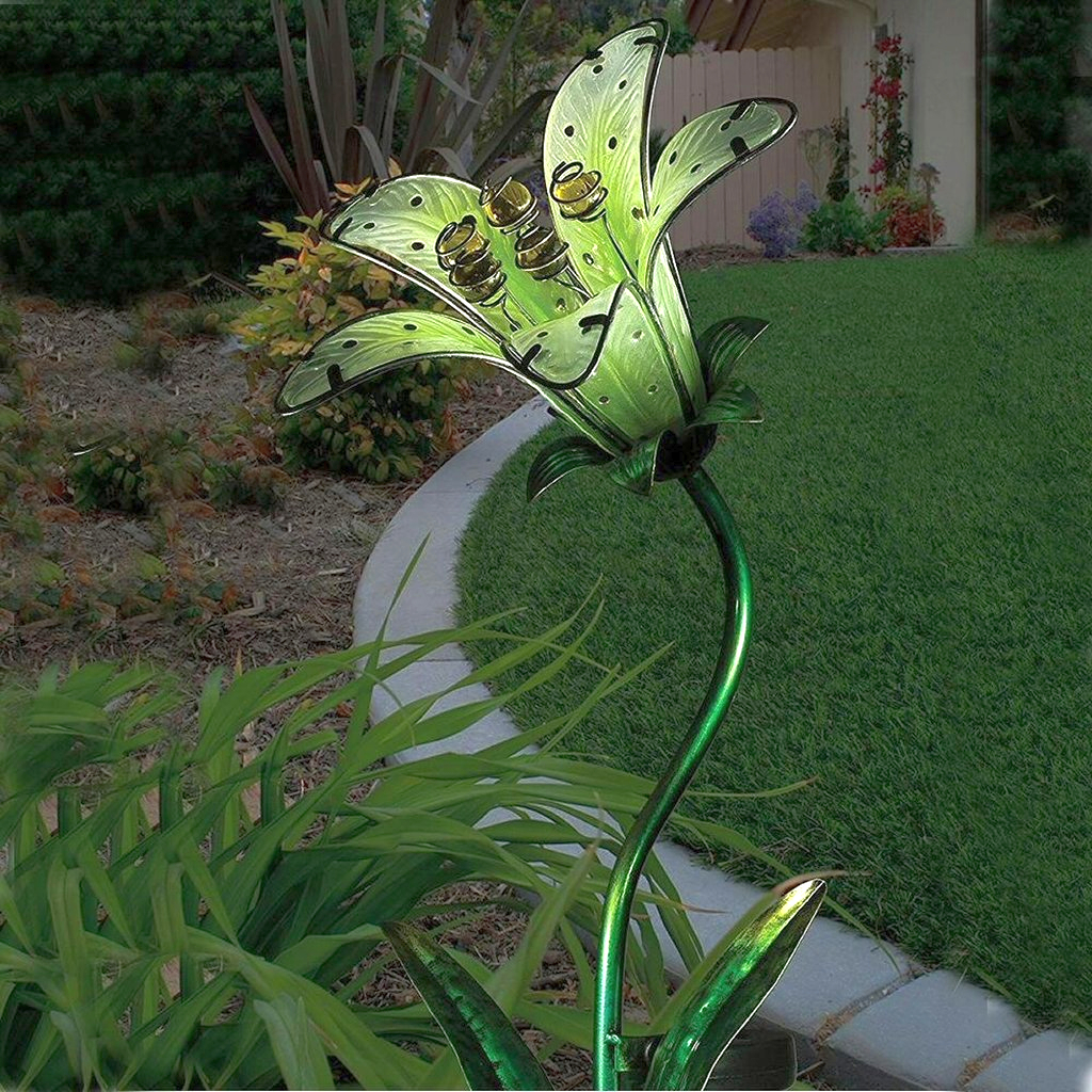 Solar Tiger Lily Garden Stake White Set Of 2