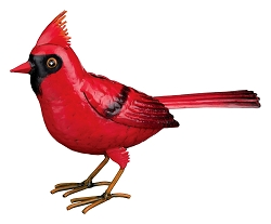 3-D Metal Garden Decor Sculpture Cardinal