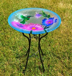 Hummingbird Embossed Glass Birdbath with Stand