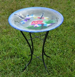 Dragonfly Trio Embossed Glass Birdbath with Stand