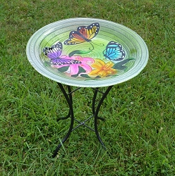 Butterfly Trio Embossed Glass Birdbath with Stand