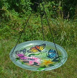 Butterfly Trio Embossed Hanging Glass Birdbath