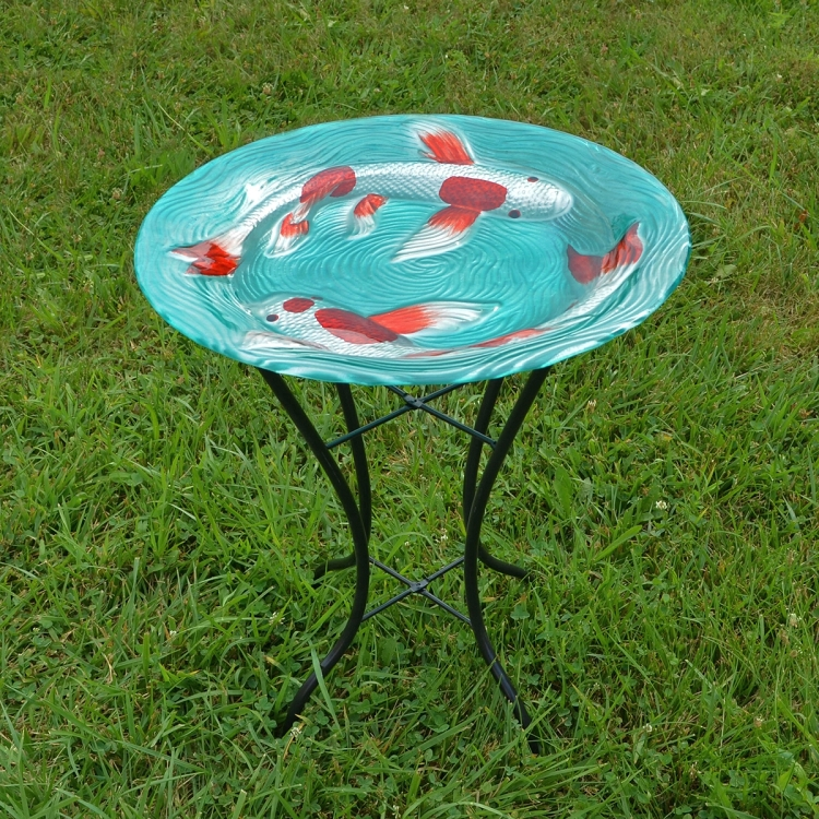 Koi pond embossed glass birdbath with stand for Koi pond glass