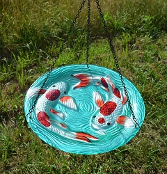 Koi Pond Embossed Hanging Glass Birdbath