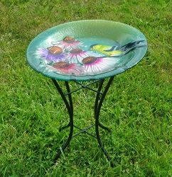 Goldfinch Embossed Glass Birdbath with Stand
