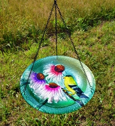 Goldfinch Embossed Hanging Glass Birdbath