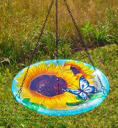 Blooming Sunflower Embossed Hanging Glass Birdbath
