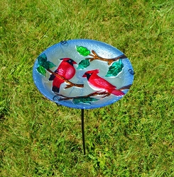 Perching Cardinals Embossed Glass Birdbath Staked