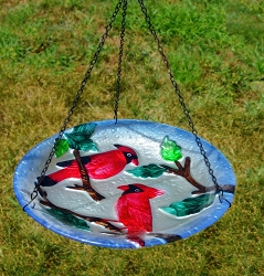 Perching Cardinals Embossed Hanging Glass Birdbath