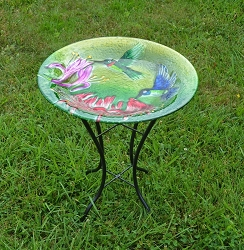 Fluttering Hummingbirds Embossed Glass Birdbath with Stand