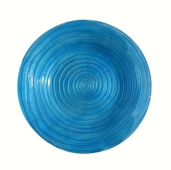 Blue Swirls Embossed Glass Birdbath Bowl