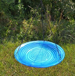 Blue Swirls Embossed Hanging Glass Birdbath
