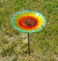 Sunflower Embossed Glass Birdbath Staked