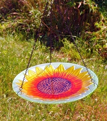 Sunflower Embossed Hanging Glass Birdbath