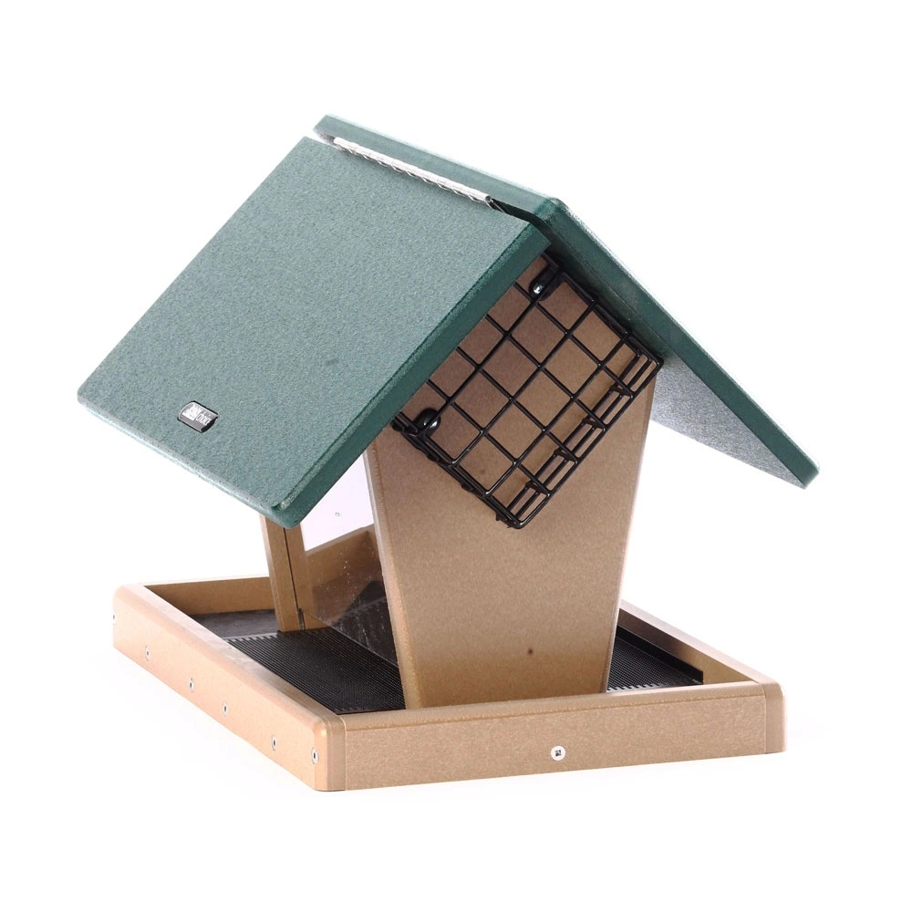 Birds Choice SNHFS Recycled 7 Quart 2-Sided Hopper W//2 Angled Suet Cages