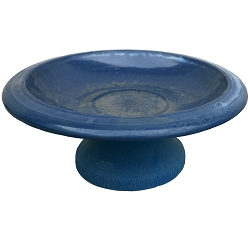 Tierra Garden Fiber Clay Birdbath w/Small Base Navy Blue