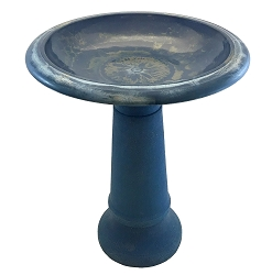 Tierra Garden Navy Blue Fiber Clay Bird Bath with Pedestal Base