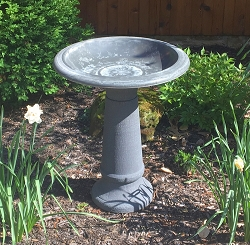 Tierra Garden Cool Grey Fiber Clay Bird Bath with Pedestal Base