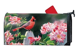 Cardinal with Variegated Roses MailWrap