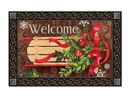 Mountain Cabin Sled MatMate Doormat