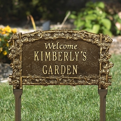 Ivy Trellis Welcome Personalized Garden Plaque