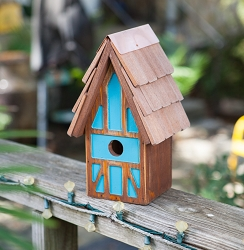 Twee Tudor House Birdhouse Brown/Teal