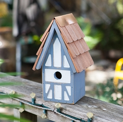 Twee Tudor House Birdhouse Blue/White